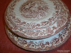 4 db. angol jelenetes porcelán tányér