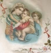 Selyemre festett Caravaggio másolat Mária a kis Jézussal!