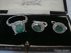 Smaragd és cirkon köves ezüst szett fülbevaló+gyűrű