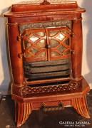 Nagyon régi antik öntöttvas zománcozott kandalló kályha!