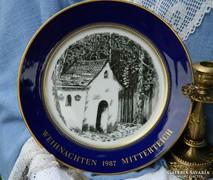 Weihnachten 1987 Mitterteich porcelán tányér, gyűjtői