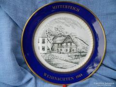 Weihnachten 1984 Mitterteich porcelán dísztányér, gyűjtői