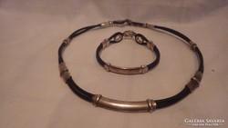 Ezüst kaucsuk karkötő és nyaklánc 22 cm 50 cm 53 gramm