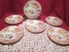 6 db japán kézzel festett gésás süteményes tányér   1221