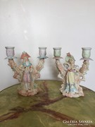Antik porcelan figuras gyertyatarto par