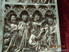 14-dik sz.GÓTIKUS DIPTICHON után KRISZTUS ÉLETE-kézi faragás
