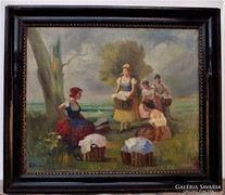 Burchard Bélaváry István ( 1864-? ) antik olajfestmény 70x80