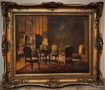 Apátfalvi Czene János (1905-1984 ) Enteriőr olajfestmény
