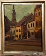 Markó Ernő (1868-1945) Tabán Fehérsas utca olajfestménye