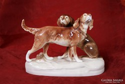 Nagy méretű Royal Dux kutyapár