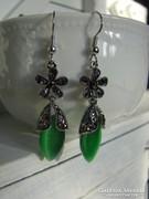 Zöld Jáde Markazit köves platinával bevont luxus fülbevaló