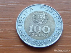 PORTUGÁLIA 100 ESCUDOS 1990 BÍMETÁL