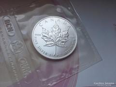 1990 Kanada ezüst 5 dollár ezüst 31,1 0,999 banki fólia
