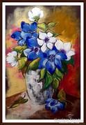 Czinóber - Csendélet kék és fehér virágokkal