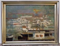 Göllner Miklós ( 1902-1977) Kikötő képcsarnokos festménye
