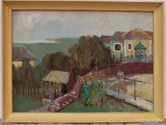 Blahos Rudolf (1917-1986) Meredek út. képcsarnokos festménye