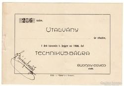 Utalvány Technikus bálra - 1908