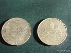 EZÜST 5 FORINT 1947 + 200 FORINT 1994,  2 DB!!
