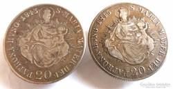 Ezüst 20 krajcár 1843 és 1845 mandzsetta gomb