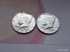 1967,68 USA ezüst fél dollár ,szép darabokkal 11,5 gramm 0,4