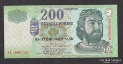 "200 forint 2005. ""FB""  Alacsony, 49-es! UNC !"
