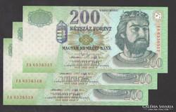 """200 forint 2006. """"FA"""" ! 3 db sorszám követő! UNC !"""