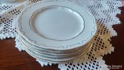 6 személyes Zsolnay tollazott porcelán süteményes készlet