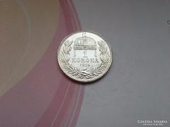 1914 ezüst 1 korona.magyar gyönyörű,verdefényes darab!!!