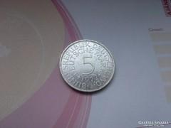 """1972 """"J"""" ezüst 5 márka 11,2 gramm 0,625"""