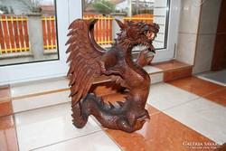 Faragott sárkány, dísz, faragás, faragvány 41 cm