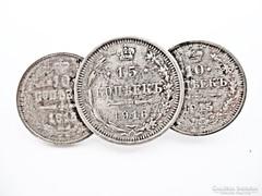 Orosz cári ezüst érmék kitűzővé alakítva