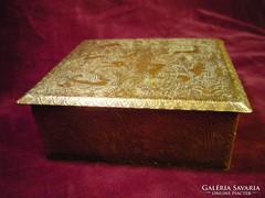 Antik patinás réz vadászjelenetes doboz,ládika 852435/10