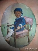 Szántó: Gyermek matrózruhában, akvarell 1918-ból