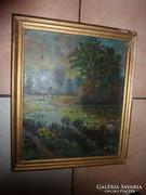 Virágzó vízparti táj, régi olaj-karton festmény