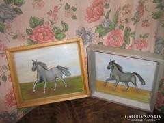 Csodaszép lovas vintage shabby chic festmény 2 db