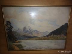 Vízparti falucska magas hegyekkel, akvarell