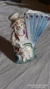 Porcelán kis ibolyás váza, régi sorszámozott