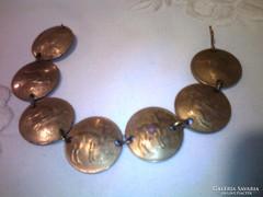 Perui réz pénz érmékből karkötő,lámás