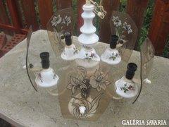 5 karos porcelán csillár üveg díszekkel