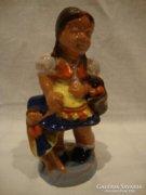 Antik Horváth Sándor kerámia kislány babával szobor