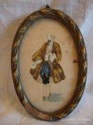 Antik selyemre festett mini festmény