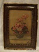100 éves virágcsendélet festmény üvegre