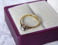 18 k arany gyűrű platinával, gyémánttal - eljegyzési ékszer