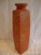 Tófej szögletes retro iparművész kerámia váza