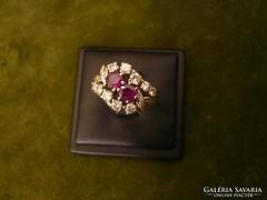 Rubinos-brilles fehérarany gyűrű