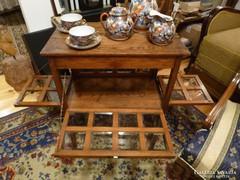 Szecessziós tölgy teázós asztal, zsúr asztal, tálaló asztal