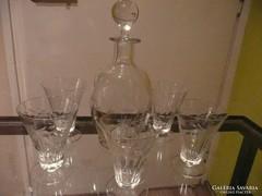 Gyönyörű antik csiszolt üveg karaffa+ 5 pohár 1920-ból