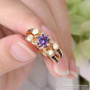 Gyönyörű Gold filled 10 karátos gyűrű, 7-es ametiszt kővel