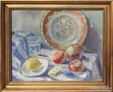 Szilágyi:Csendélet citrommal, almával és tányérral