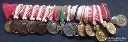 Ritka KUK és Horthy mini kitüntetés sor 16db spange